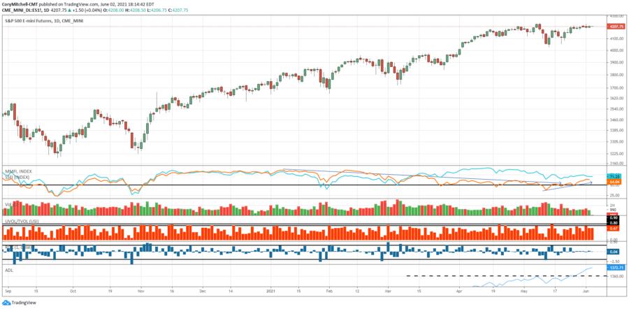 SPX June 2 with market health indicators